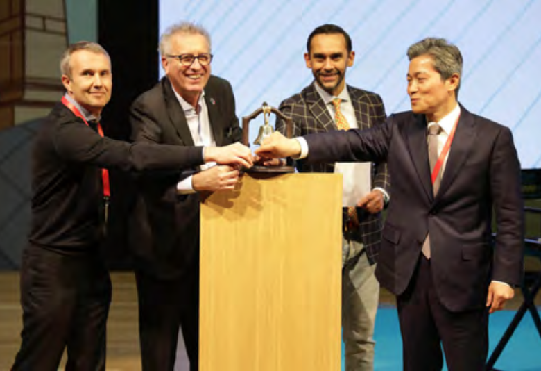 From left: Alexander Tkachenko (CEO and founder of VNX Exchange), Pierre Gramegna (Luxembourg Minister of Finance), Nasir Zubairi (CEO of The LHoFT), In-kyu Park (The Embassy of the Republic of Korea to the Grand Duchy of Luxembourg).